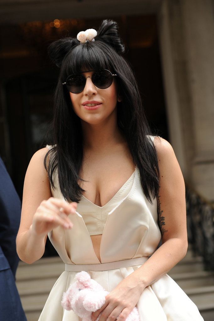 We didn't know you could buy wigs prewrapped. This Lady Gaga look had a bow teetering on top.