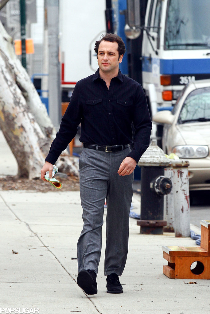 Matthew Rhys filmed scenes for the second season of The Americans in NYC on Monday.
