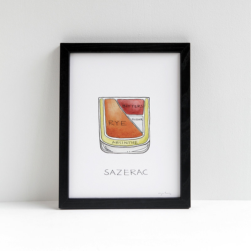 Sazerac Cocktail Diagram Print