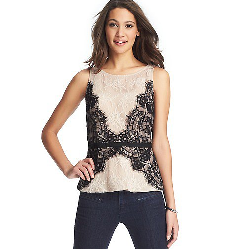 Loft's Lace Peplum Shell ($70) is perfect for your office party with a white or black blazer.