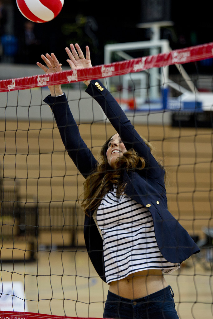 Kate Middleton joined a game of volleyball during her visit to the Sportaid Athlete Workshop in London.