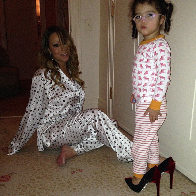 Monroe Cannon slipped into her mom's hot heels one night. Source: Instagram user mariahcarey