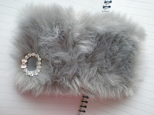 Faux Fur and Rhinestone iPhone Case