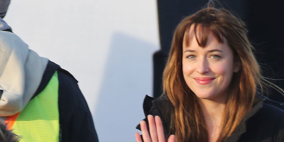 Where's Christian? Dakota Johnson Shows Skin on Set