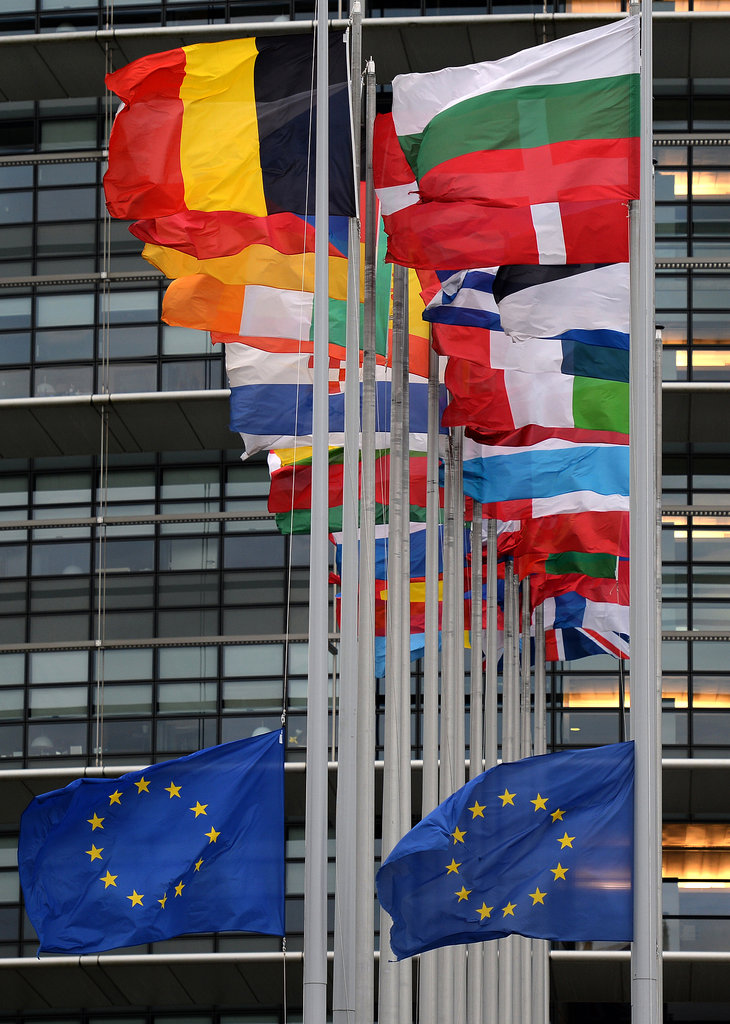 Flags flew at half mast at the European Parliament building in Strasbourg, France.