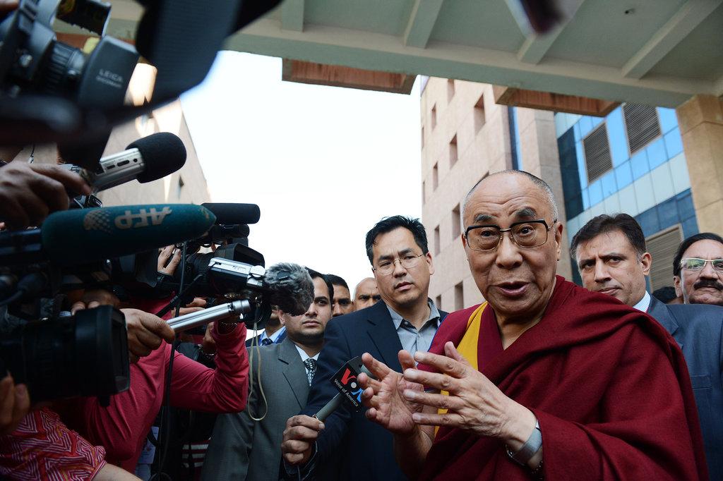 The Dalai Lama addressed the press on Nelson Mandela's passing in New Delhi, India.