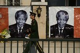 Nelson Mandela's picture was on display outside the South African embassy in Beijing.