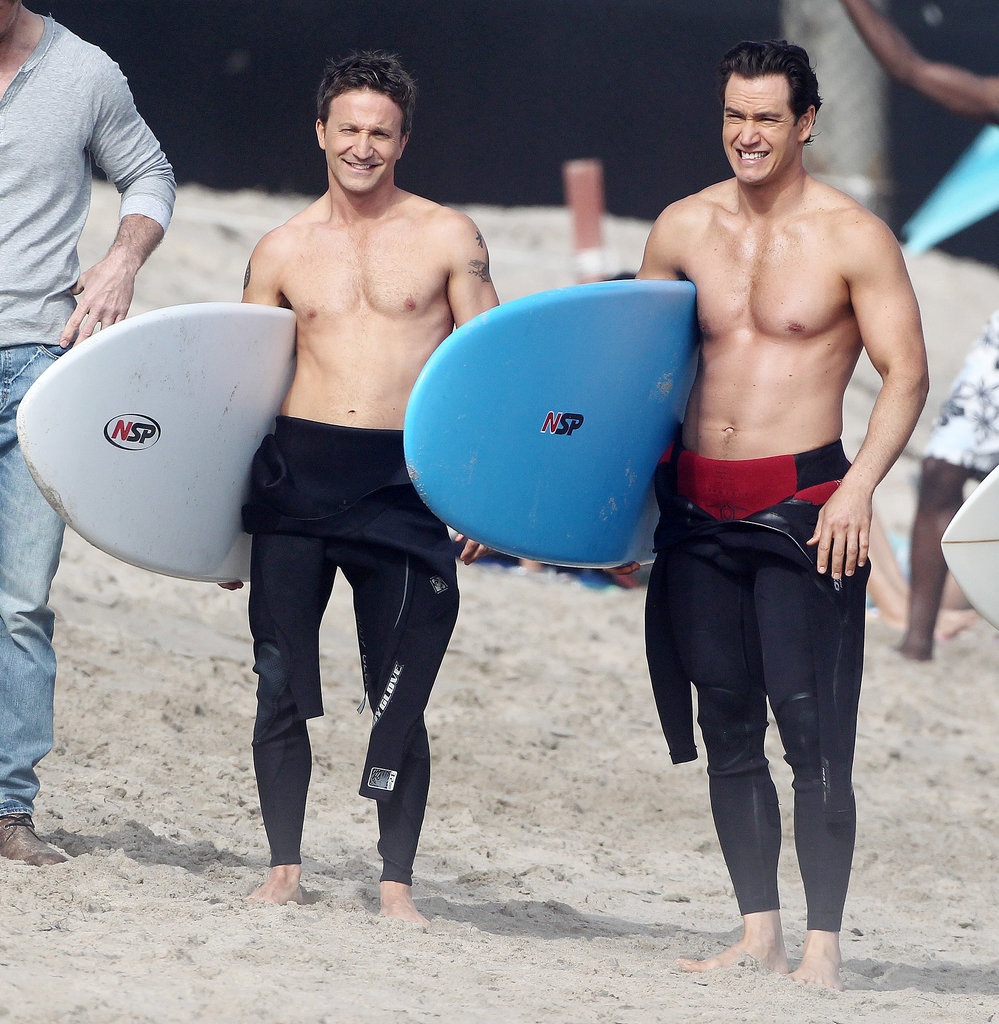 Breckin Meyer and Mark-Paul Gosselaar hit Malibu beach shirtless while filming Franklin & Bash in March.