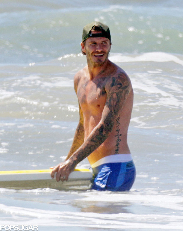 David Beckham hit the Malibu surf shirtless in August.
