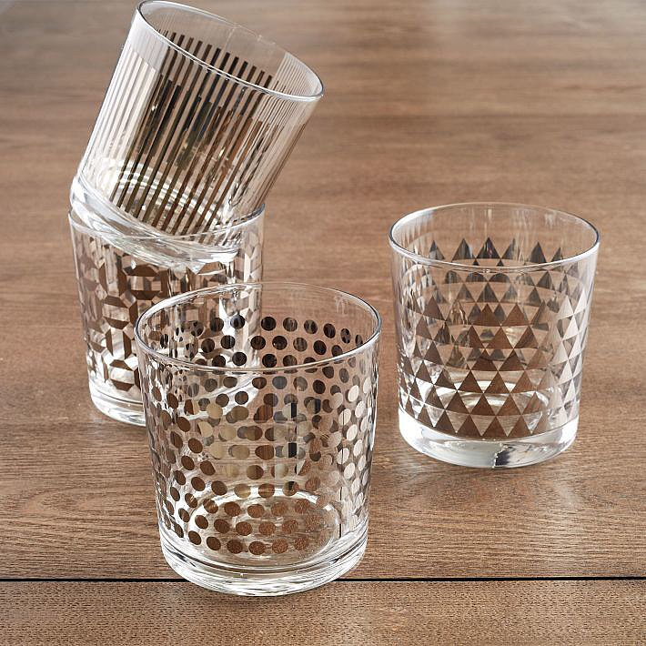 Assure you'll be invited over for happy hour by giving this metallic glassware set ($34).