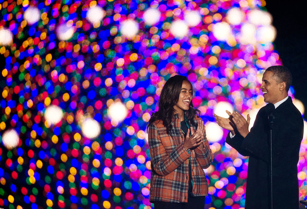 The Obamas enjoyed the annual Christmas tree lighting.