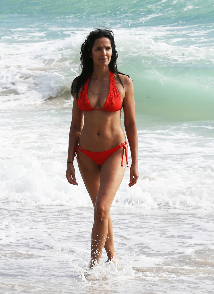 Padma Lakshmi's abs were on display at the beach on Sunday.