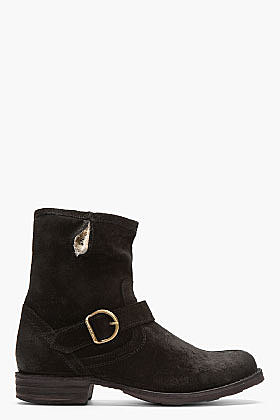 FIORENTINI + BAKER Black Suede Fur-Lined Eternity Eli Boots