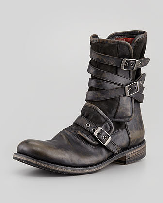 John Varvatos Multi-Strap Buckle Boot, Charcoal