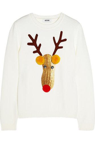Reindeer appliquéd wool sweater