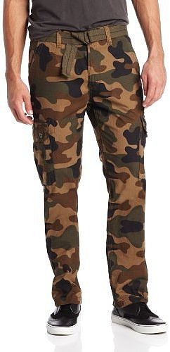 Southpole Men's Basic Cargo Long Camo Pants with Color Matching Belt