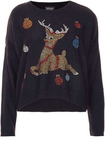 Knitted Crystal Reindeer Jumper