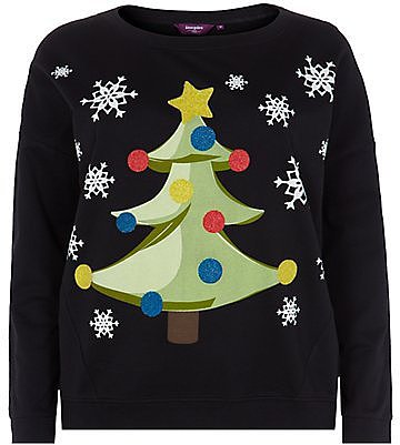 Inspire Black Beaded Christmas Tree Sweater