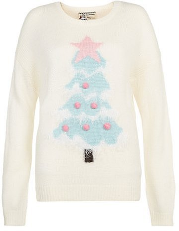 Cream Light Up Tree Christmas Jumper