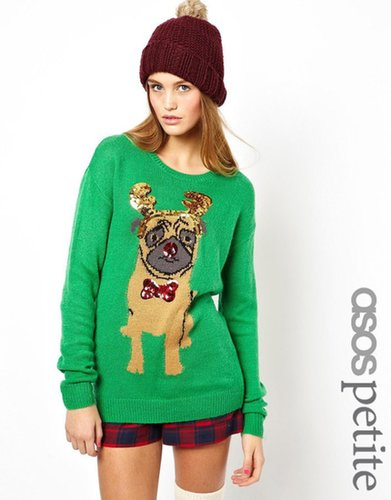 ASOS PETITE Christmas Jumper with Pug