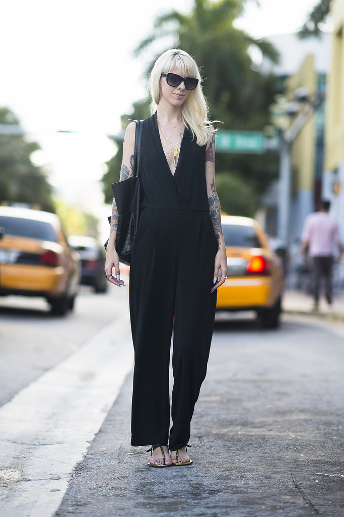 Black may be basic, but this jumpsuit wasn't. Source: Le 21ème | Adam Katz Sinding