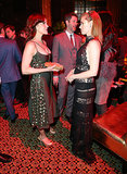 Amy Adams greeted Carla Gugino at the afterparty.