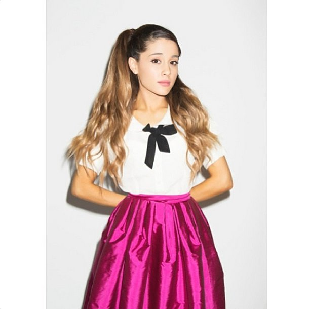 The schoolgirl uniform got a jewel-tone update. Source: Instagram user arianagrande