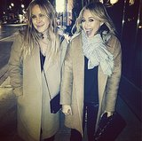 Hilary Duff braved the black ice in a camel coat. Source: Instagram user hilaryduff