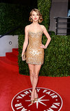 Taylor is no stranger to sequins, as proven by the glistening strapless Zuhair Murad Spring 2011 mini she donned for Vanity Fair's Oscar party in 2011.