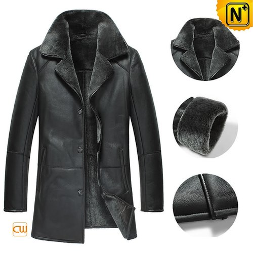 Black Sheepskin Coats for Men CW877180