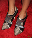 Stacy Keibler found the perfect combo of tough but sexy with these pointed ankle booties.