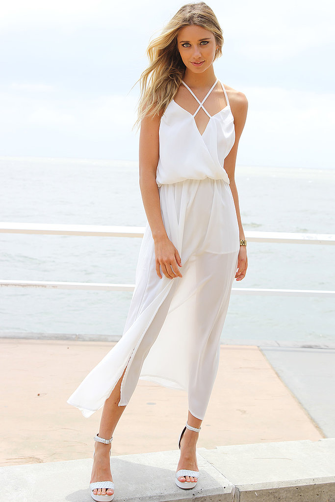 I'm spending New Year's Eve seaside with my best friend, boyfriend and best friend's boyfriend. There's likely to be lots of eating — and drinking — so a loose-fitting dress is just want I'm after. I love the sheer hem and weightless look of this white maxi — it's a perfect beach-to-bar solution. — Jasmine, fashion editor Dress, $62, Sabo Skirt