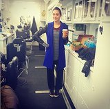 Emmy Rossum sported a towel turban while getting ready on set. Source: Instagram user emmyrossum