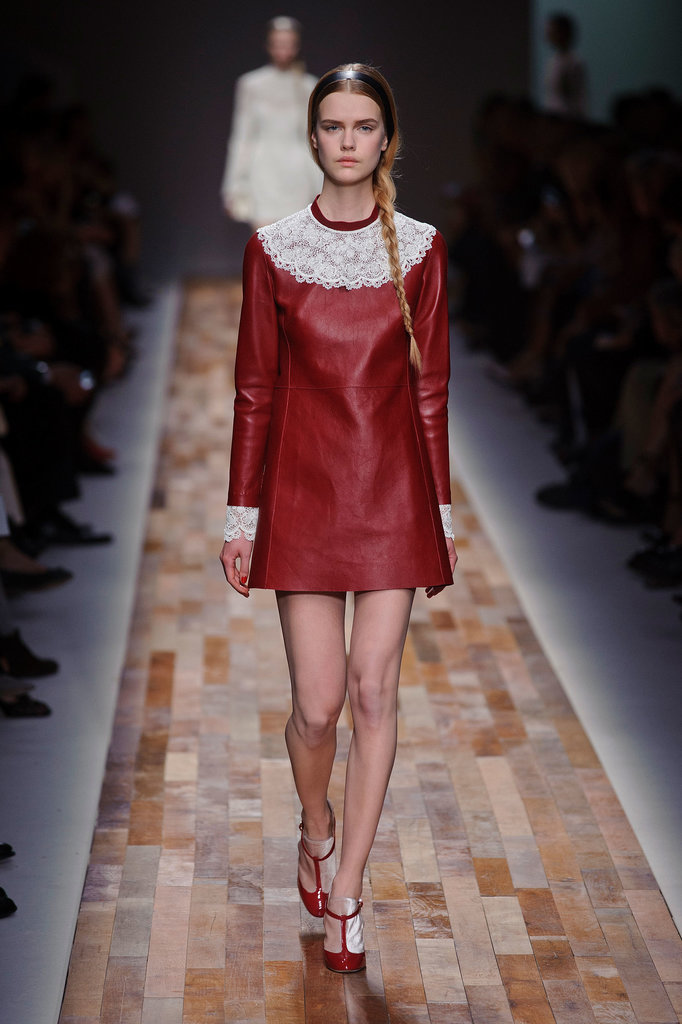 But it was the Valentino show that really took the cake. This burgundy leather dress with lace collar and cuffs was so evocative of what Kris Kringle wears.