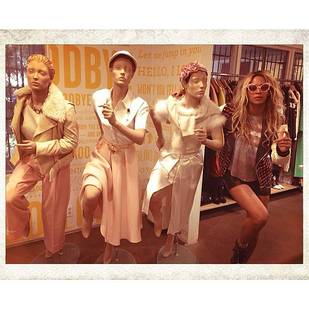Beyoncé Knowles tried to fit in with a group of mannequins, but we were somehow still able to spot her. Source: Instagram user beyonce