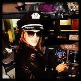 Alessandra Ambrosio looked right at home in the cockpit of a plane. Source: Instagram user alessandraambrosio