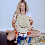 Beyoncé and Blue played around a straw cowboy hat. Source: Instagram user beyonce
