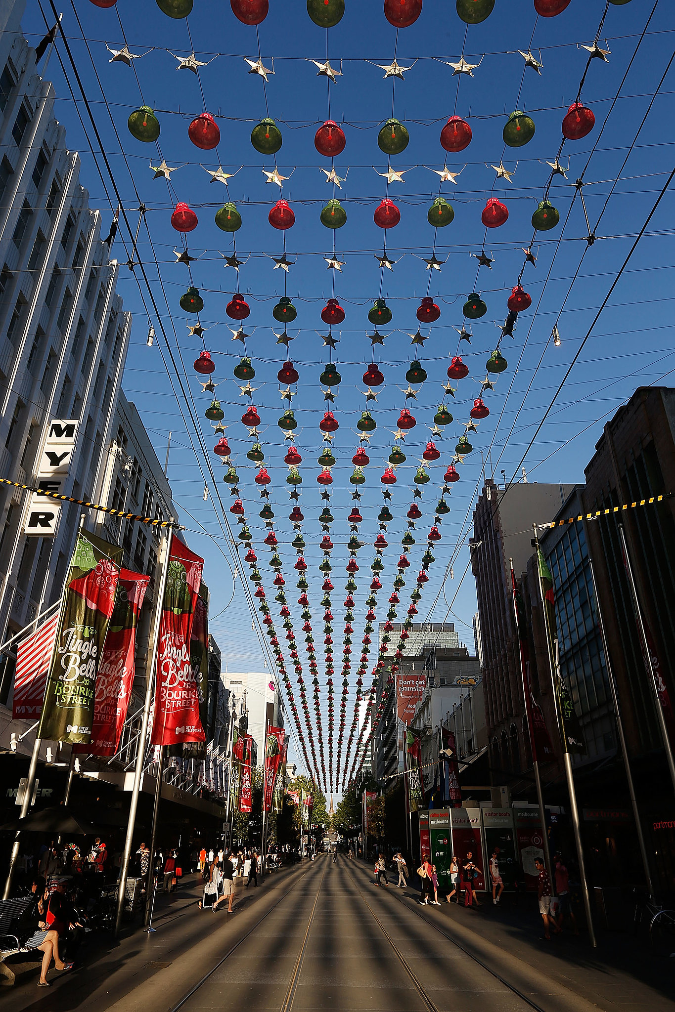 Christmas decorations took over Burke Street Mall Melbourne