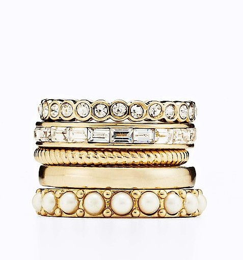 For the jewelry-lover, or just about any of our girlfriends, this Ann Taylor Modern Classic Ring Set ($50) makes a sweet stocking stuffer.