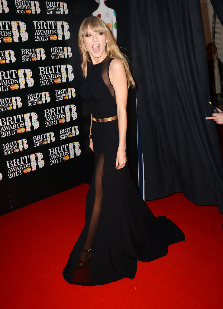 Taylor Swift looked shocked at the number of fans that greeted her at the Brit Awards in London back in February 2013.