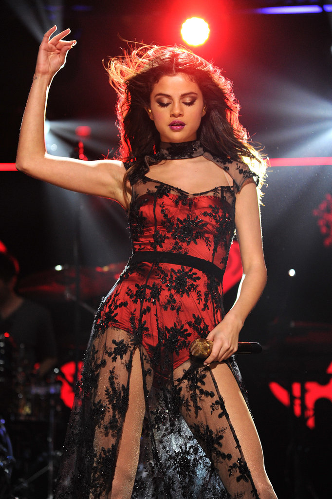 Selena Gomez struck a sultry pose while performing.