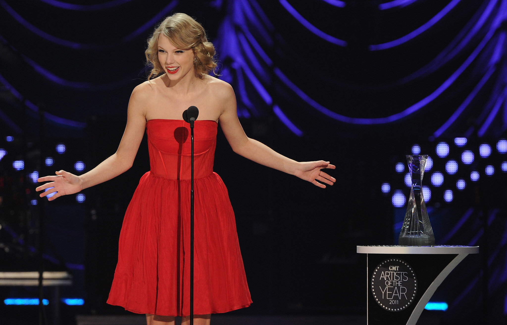 Taylor Swift was honored at the CMT Artists of the Year event in November 2011.