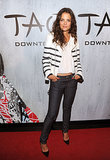 Looking effortlessly chic in a striped Each x Other biker jacket at the downton NYC grand opening of TAO in September 2013.