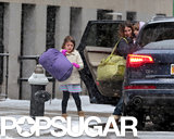 Tina Fey and her daughters, Alice and Penelope, braved heavy snow in NYC.