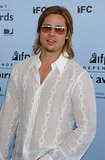 Brad Pitt played it cool and casual in a sheer shirt at the Independent Spirit Awards in March 2003.