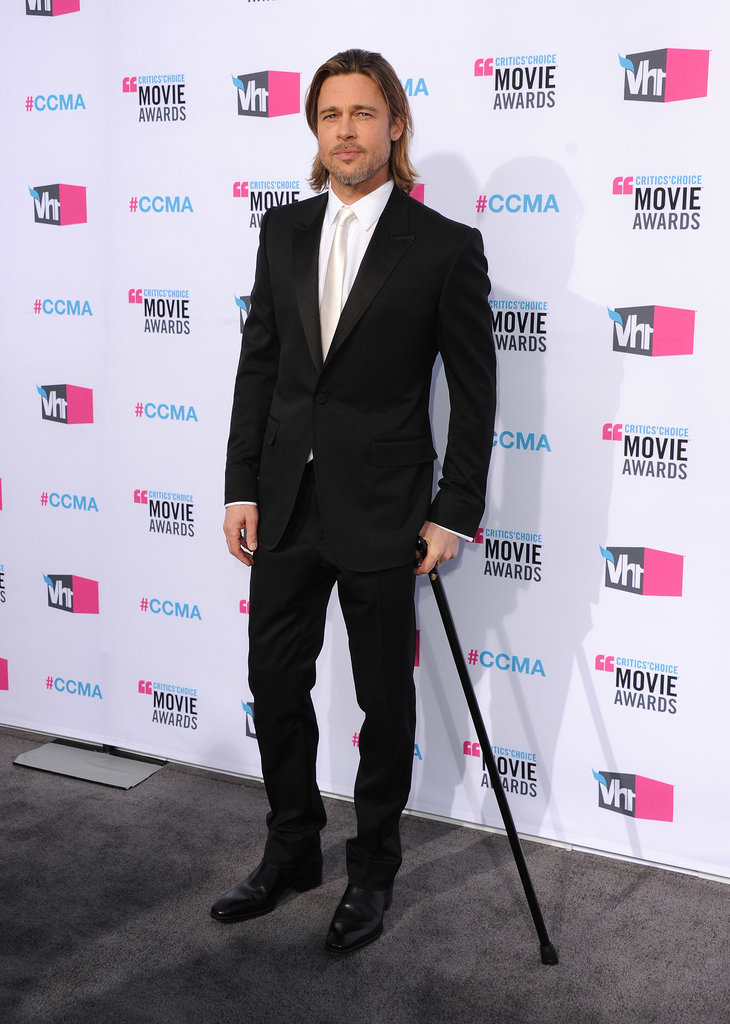 We don't know how, but Brad Pitt managed to look super hot even while hobbling around with a cane at the Critics' Choice Movie Awards in January 2012.