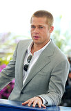 Brad Pitt struck a laid-back pose while promoting Troy at the Cannes Film Festival in May 2004.