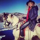 This horse was ready to take Heidi Klum over the mountains and through the snow. Source: Instagram user heidiklum