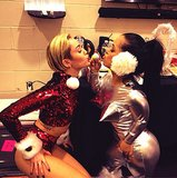 Miley Cyrus got in the holiday spirit in a sparkly Santa outfit. Source: Instagram user mileycyrus