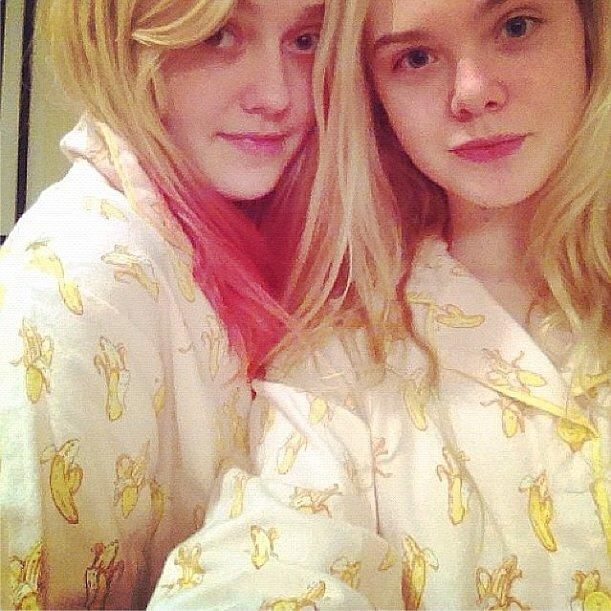 We're bananas for these adorable matching pajamas on Elle and Dakota Fanning. Source: Instagram user fanningdakota